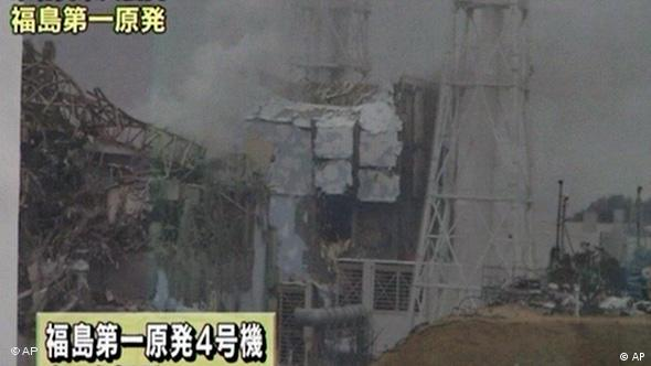 The no. 4 unit of the Fukushima Dai-ichi nuclear complex damaged after the earthquake