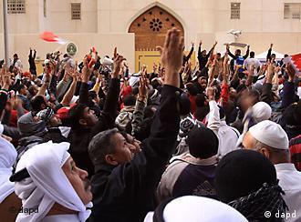 تظاهرات مخالفان در مقابل سفارت عربستان در منامه، پایتخت بحرین