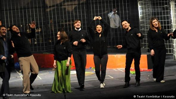 Cast of Rock 'n' Roll on stage at the Kosovo National Theater