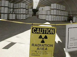 a sign warning about radiation