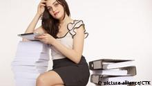 Beautiful young woman, girl, assistent, worker, iPad, computer, office. (CTK Photo/Rene Fluger) MODEL RELEASED, MR