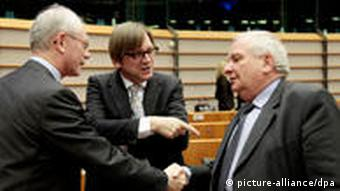 President of the European Council Herman Van Rompuy (L) Guy Verhofstadt, chairman of the Eurpean parliament's Liberal Group (C) and Joseph Daul, chairman of the EPP Christian-Democratic Group (R) (EPA/Olivier Hoslet)