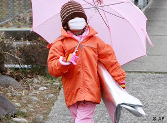 A girl covered in face mask and rain coat carrying umbrella