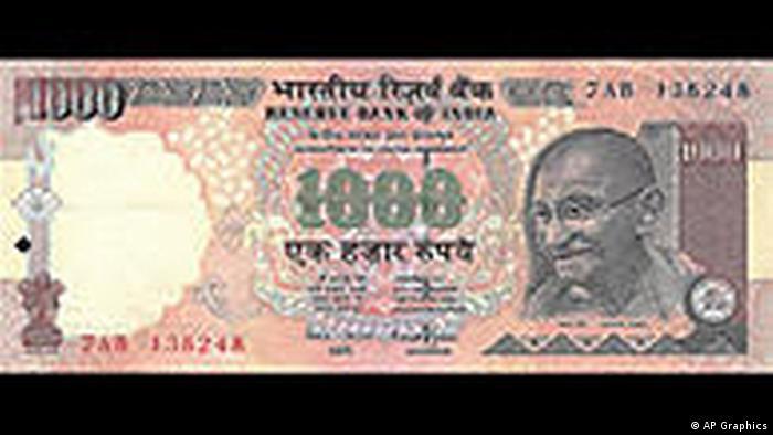 Indien Währung 1000 Rupee Banknote (AP Graphics)