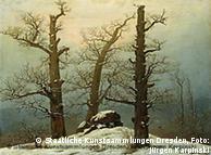 Caspar David Friedrich, 'Túmulo de huno na neve', 1807, é um dos quadros da mostra
