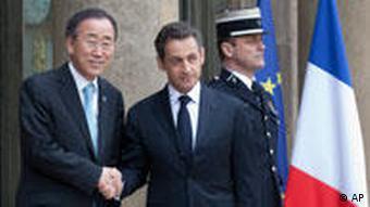 Frankreichs Präsident Sarkozy und UN-Generalsekretär Ban Ki Moon (Foto: AP)