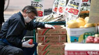 A worker stocks tomatoes from Tochigi Prefecture at a market Sunday, March 20, 2011, in Tokyo. Japan announced the first signs that contamination from its tsunami-crippled nuclear complex have seeped into the food chain, saying that radiation levels in spinach harvested in Ibaraki Prefecture and milk from farms in Fukushima Prefecture near the facility exceeded government safety limits. (Foto:Gregory Bull/AP/dapd)