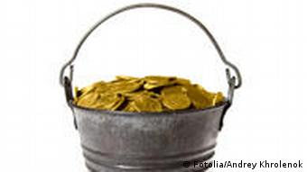A bucket full of gold coins