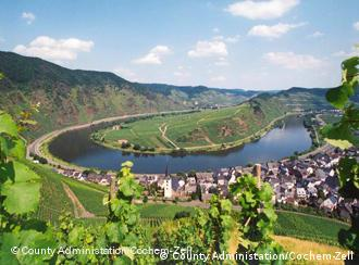 The famous 'Moselschleife' at Bremm, site of Europe's steepest wine-growing mountains