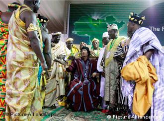 African leaders and Gadhafi