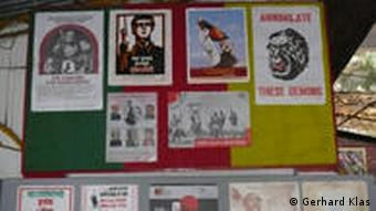 Pictures and leaflets on a wall at the Liberation War Museum