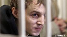Auf dem Bild ist der Vertreter der oppositionellen Organisation Junge Front in Belarus Dmitrij Dashkevich in Minsker Gericht am 24.03.2011 zu sehen. zugestellt von: Tatsiana Proshchenka