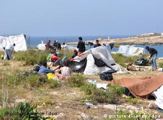 Tents on the island of Lampedusa