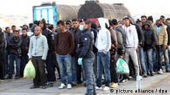 Tunisian migrants on Lampedusa
