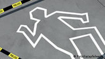 A symbolic representation of the chalk outline of a murder victim surrounded by police tape