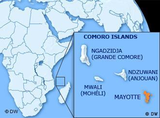 马约特岛属于科摩罗群岛,西毗非洲大陆,东望马达加斯加,扼守莫桑比克海峡北侧战略要冲。
