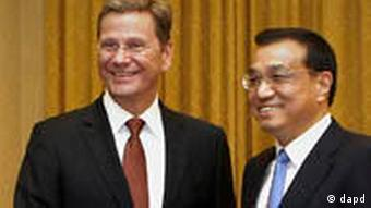 German Foreign Minister Guido Westerwelle, left, meets with Chinese Vice Premier Li Keqiang