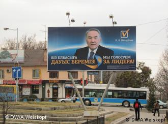 A campaign poster for President Nazarbayev