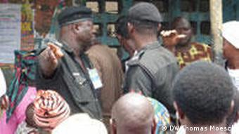 Police at a polling station in Lagos
