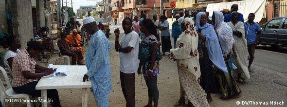 A line of voters wait their turn in Lagos
