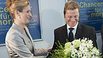 Westerwelle gets a bunch of flowers