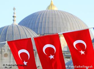 turkish flags and mosque