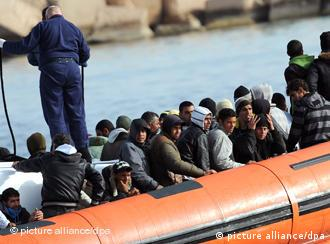 North African migrants in Lampedusa