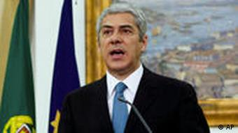 Portugal's Prime Minister Jose Socrates making his televised address