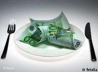 Евробанкноты на тарелке