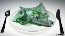 Geld Essen Besteck Mahlzeit