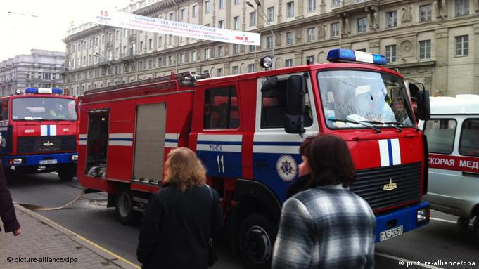 Fire truck at Minsk metro station Oktyabrskaya, after an explosion, 11 April 2011. Photo Anton Motolko