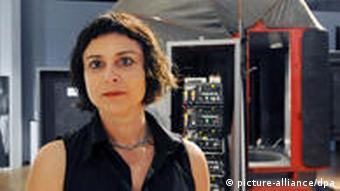 Susanna Kraus stands with her Imago 1:1 camera