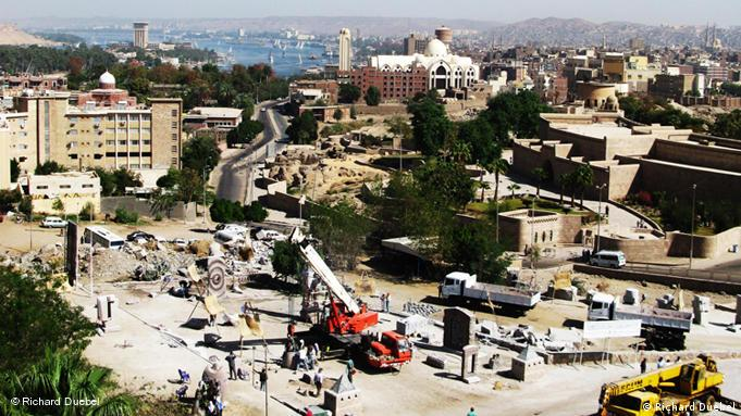 An aerial view of the outdoor granite sculpture studio in Aswan, Egypt