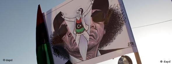 NO FLASH Banner Benghazi Libyen Gadhafi Protest