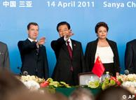 Líderes da Índia, da Rússia, da China, do Brasil e da África do Sul em encontro do Bric