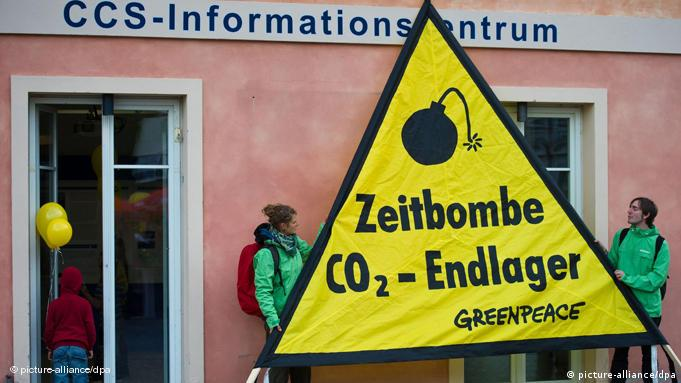 Demonstrators protesting carbon storage sites in Germany