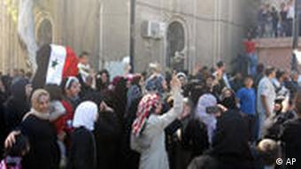 BEST QUALITY AVAILABLE - In this citizen journalism image acquired by the AP, women attend an anti-government protest in Daraa, Syria, Friday, April 15, 2011. Tens of thousands of people chanting Freedom! held protests in several Syrian cities Friday, demanding far greater reforms than the limited concessions offered by President Bashar Assad over the past four weeks, witnesses said. (AP Photo)
