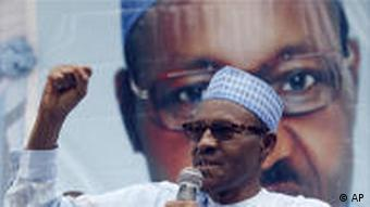 Gen. Muhammadu Buhari, presidential candidate of the Congress for Progressive Change, attends a campaign rally in Lagos, Nigeria, Wednesday, April 6, 2011. Buhari, a former military ruler of Nigeria, has gained support in his third bid to become president of the oil-rich nation. Buhari ruled Nigeria from 1983 to 1985 after a military coup deposed the elected president. (AP Photo/Sunday Alamba)