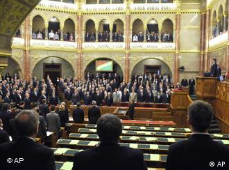 Empty seats in Hungary's parliament