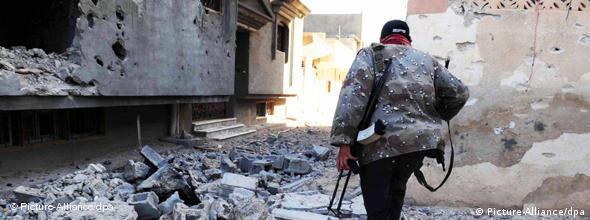 صحنهای از نبردها در شهر ویران شدهی مصراته