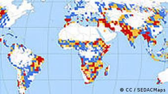 A map that shows Global Drought Hazard Frequency and Distribution