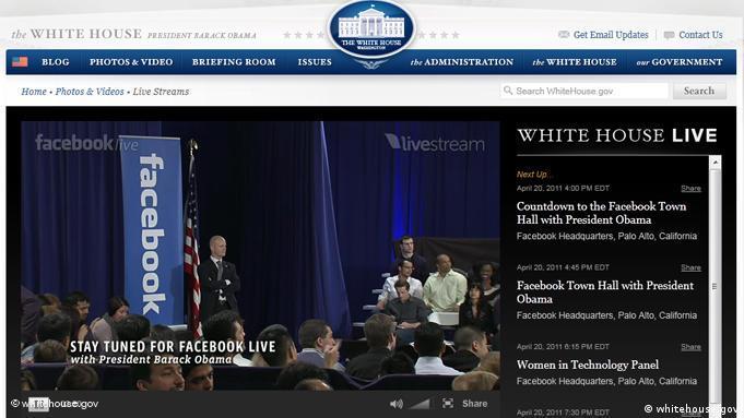 بنر تبلیغ دیدار چهارشنبه شب اوباما و زاکربرگ که پیش از آغاز نشست، در وبسایت کاخ سفید منتشر شد
