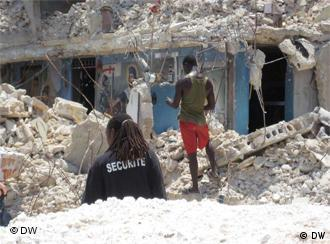 clearing rubble in Haiti