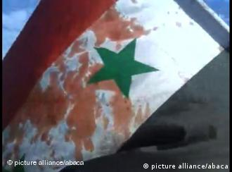 bloodied syrian flag