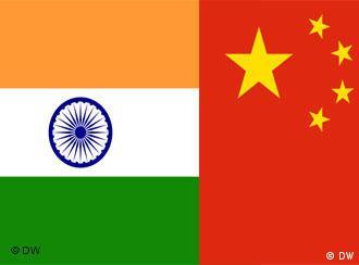 Flaggen Indien und China Collage