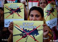تظاهرکنندگان پاکستانی معترض به عملیات هواپیماهای بدون سرنشین آمریکایی در این کشور
