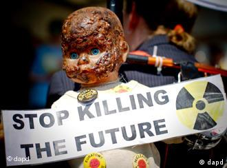 Protesters hold a banner reading Stop killing the future and a pock-marked doll