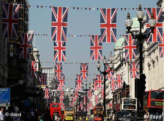 Union flag buntings hang across Regent Street in London