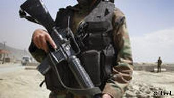 Afghan soldier with gun