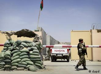 Soldier in front of Kabul airport